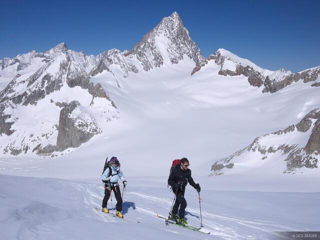 Finsteraarhorn, skiing, Bernese Oberland, Switzerland