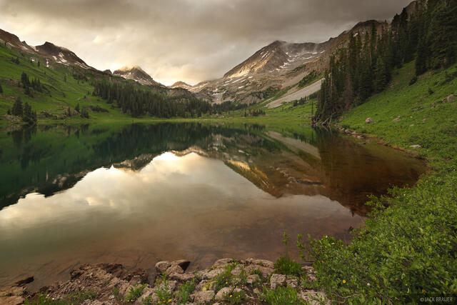 Geneva Lake, Snowmass Mountain, sunset, reflection, Elk Mountains, Colorado, Maroon Bells-Snowmass Wilderness