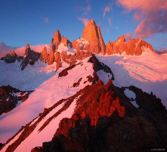 Fitz Roy, El Chaltén, Argentina, Patagonia, sunrise, December, South America, alpenglow