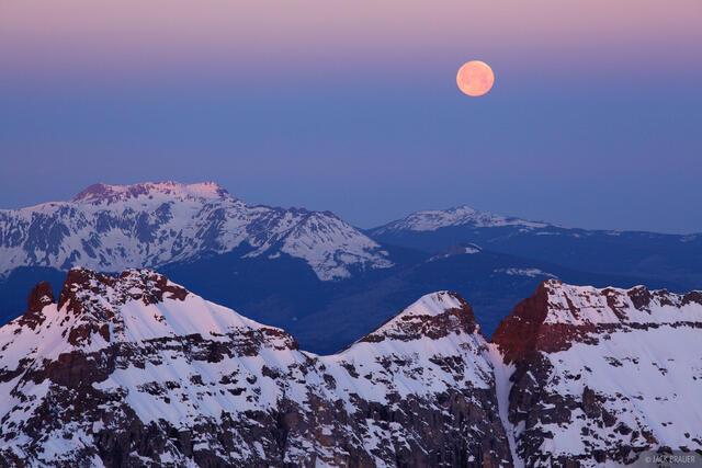 supermoon, Mt. Sneffels, San Juan Mountains, Colorado, moon, San Miguel Range