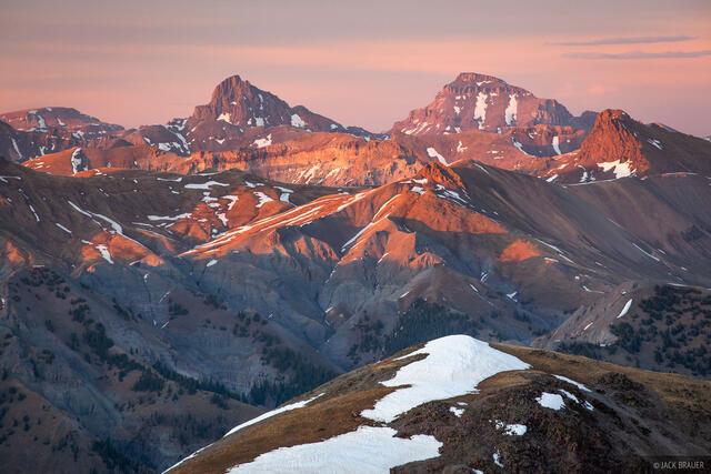 Colorado, San Juan Mountains, Uncompahgre Peak, Uncompahgre Wilderness, Wetterhorn Peak, sunset, 14ers