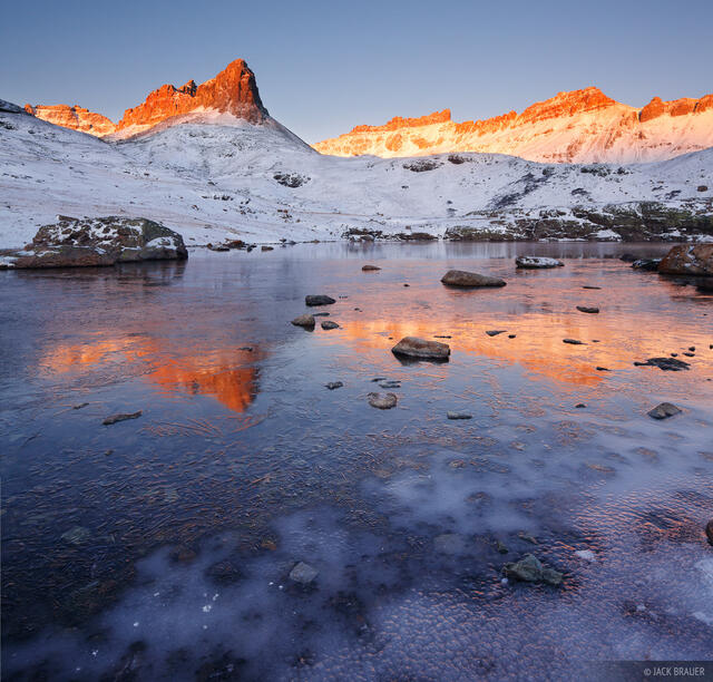 Ice Lakes, San Juan Mountains, Colorado, October, icy, ice, sunrise, Golden Horn, Pilot Knob