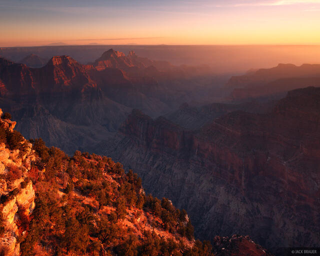 Grand Canyon, Arizona, sunset, Bright Angel, North Rim