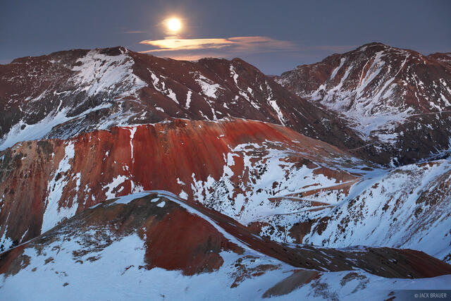 Red Mountain, Brown Mountain, moonrise, november, San Juan Mountains, Colorado