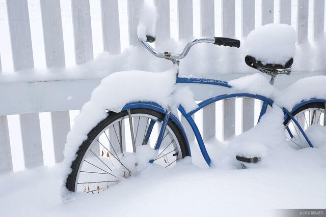 snowy, bicycle, Ouray, Colorado, Christmas