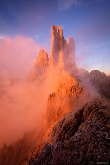 Dolomites, Italy, Vajolet, Torri del Vajolet, Rosengarten, sunset