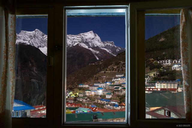 Himalaya,Khumbu,Namche Bazaar,Nepal,moonlight, window