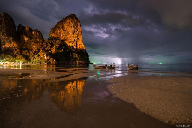 Railay, Thailand, lightning, Andaman Sea, beach