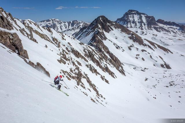 Colorado, San Juan Mountains, Uncompahgre Wilderness, Wetterhorn Peak, skiing, Uncompahgre Peak