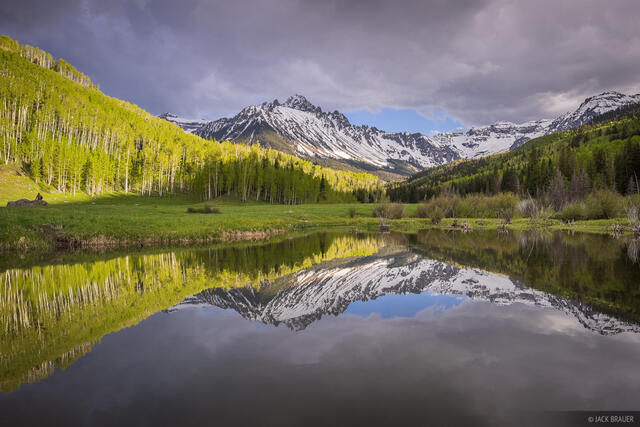 Colorado,Mt. Sneffels,San Juan Mountains,Sneffels Range, aspens, June, green