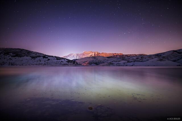 Timpanogos,Utah,Wasatch Range, moonlight, Deer Creek Reservoir, night, December