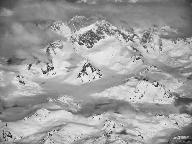 British Columbia,Canada,Mount Waddington,aerial,bw, Coastal Range