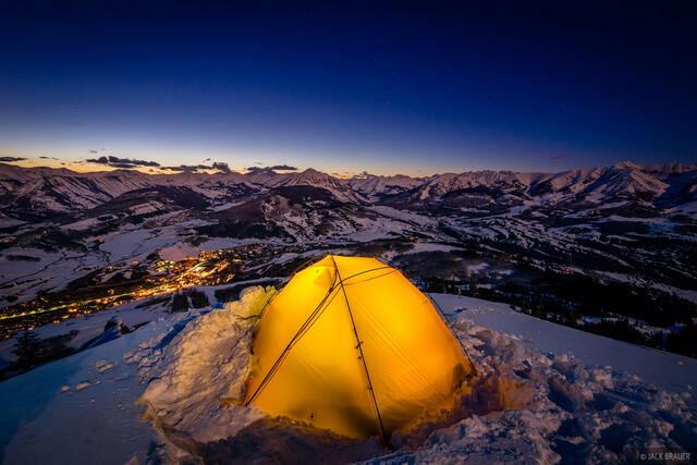Colorado,Crested Butte,tent, moonlight, Ruby Range, Elk Mountains, dusk