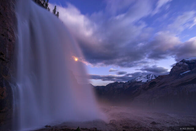 British Columbia, Canada, Emperor Falls, Mount Robson Provincial Park, waterfall, BC, moonlight