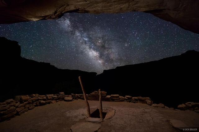 Bears Ears National Monument, Bullet Canyon, Cedar Mesa, Grand Gulch, kiva, ruin, stars, Milky Way, galaxy