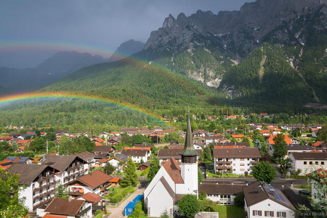 Europe, Germany, Mittenwald, rainbow, Karwendel, Bavaria, Alps