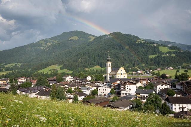 Austria, Ellmau, Kaisergebirge, Söll, rainbow