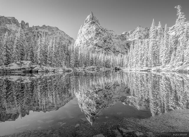Colorado, Indian Peaks, Lone Eagle Peak, reflection, black and white, Indian Peaks Wilderness