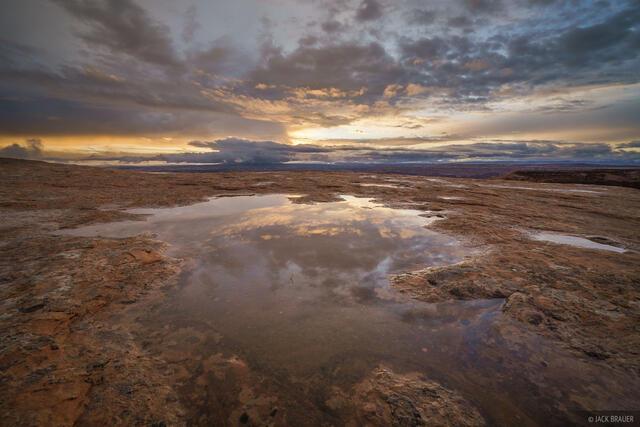 Utah, Green River, sunrise, pothole, reflection