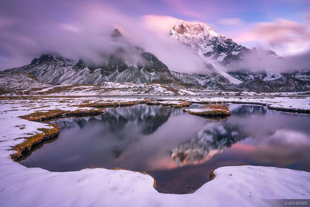 Ausangate, Cordillera Vilcanota, Lago Uturungococha, Peru, South America, sunset