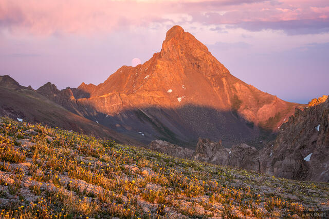 Colorado, San Juan Mountains, Uncompahgre Wilderness, Wetterhorn Peak, moon, 14er