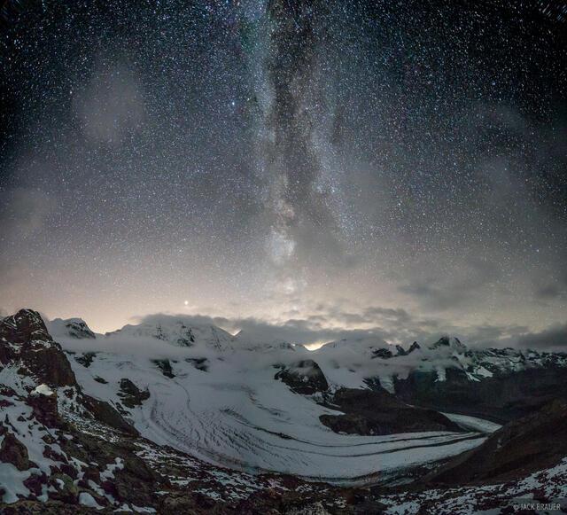 Bernina Range, Diavolezza, Piz Bernina, Piz Morteratsch, Piz Palü, Rhaetian Alps, Switzerland, stars