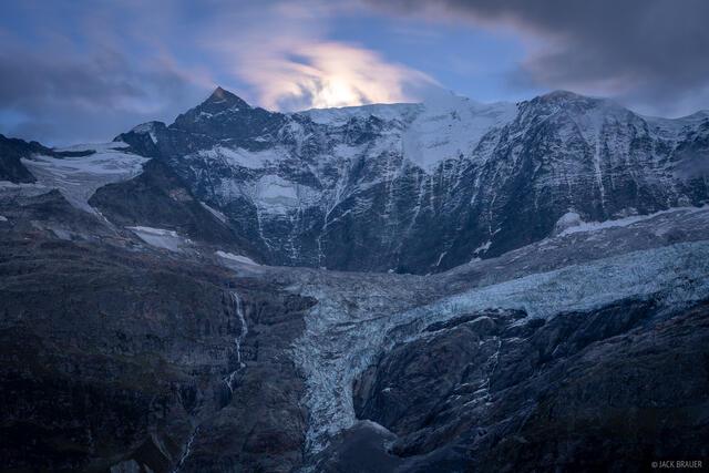 Bernese Alps, Fiescherhörner, Switzerland, moonlight, Bernese Oberland