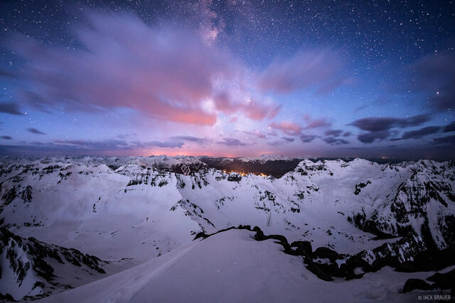 Colorado, Mt. Sneffels, San Juan Mountains, Sneffels Range, Telluride, dawn, Milky Way, stars, summit