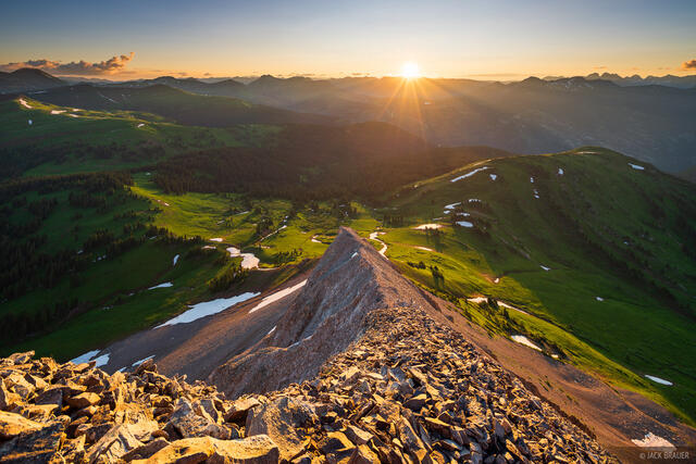 Colorado, Engineer Mountain, San Juan Mountains, sunrise