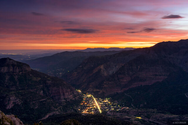 Colorado, Ouray, San Juan Mountains, sunrise, town