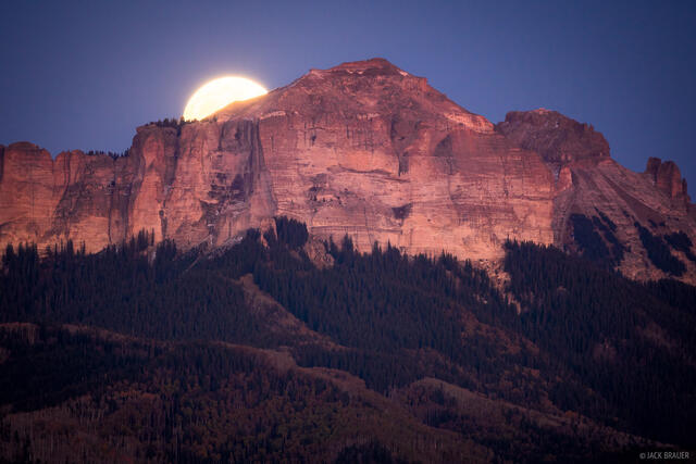 Cimarrons, Colorado, Courthouse Mountain, San Juan Mountains, moon, moonrise