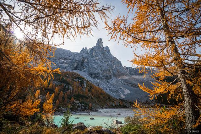 Dolomites, Italy, Lago Sorapiss, larch, October, Alps