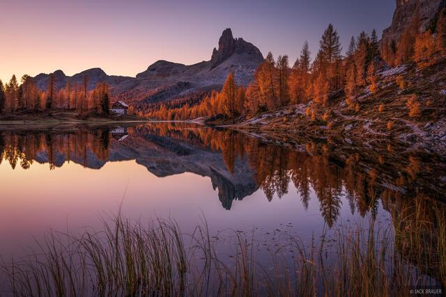 Becco di Mezzodi, Dolomites, Italy, Lago Federa, larch, October, reflection, Alps