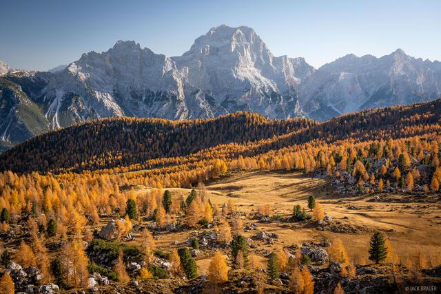 Dolomites, Gruppo del Sorapis, Italy, larch, October, Alps