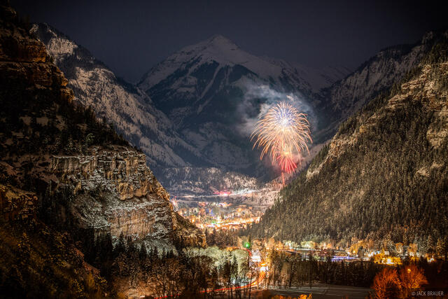 Colorado, Ouray, San Juan Mountains, fireworks, new years