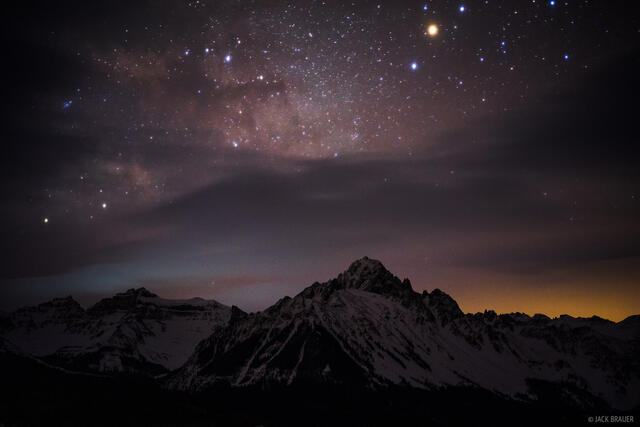 Cirque Mountain, Colorado, Mt. Sneffels, San Juan Mountains, Sneffels Range, stars