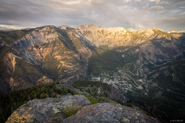 Colorado, Ouray, San Juan Mountains, Twin Peaks, Million Dollar Highway, sunset