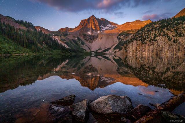 Colorado, Elk Mountains, Maroon Bells Snowmass Wilderness, Snowmass Lake, Snowmass Mountain, moonlight