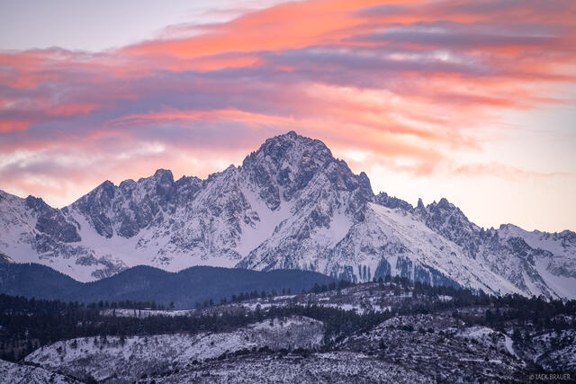 Colorado, Mount Sneffels, San Juan Mountains, Sneffels Range, sunset, Ridgway