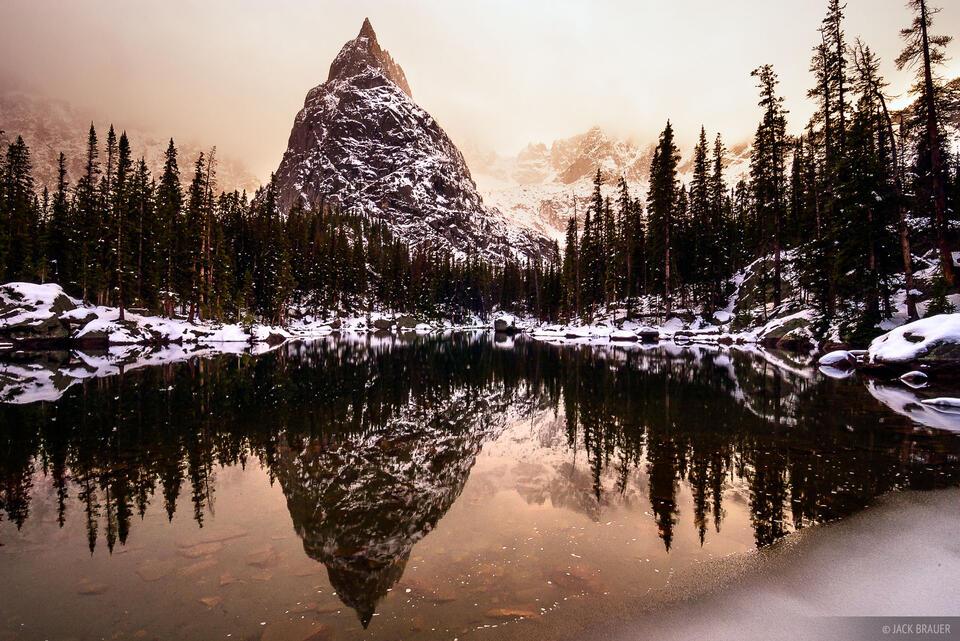 Lone Eagle Peak, reflection, Indian Peaks, Colorado, lone eagle