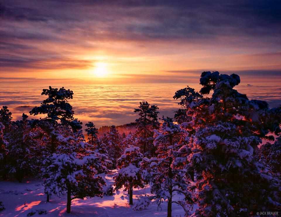 inversion, sunrise, Boulder, Colorado, winter
