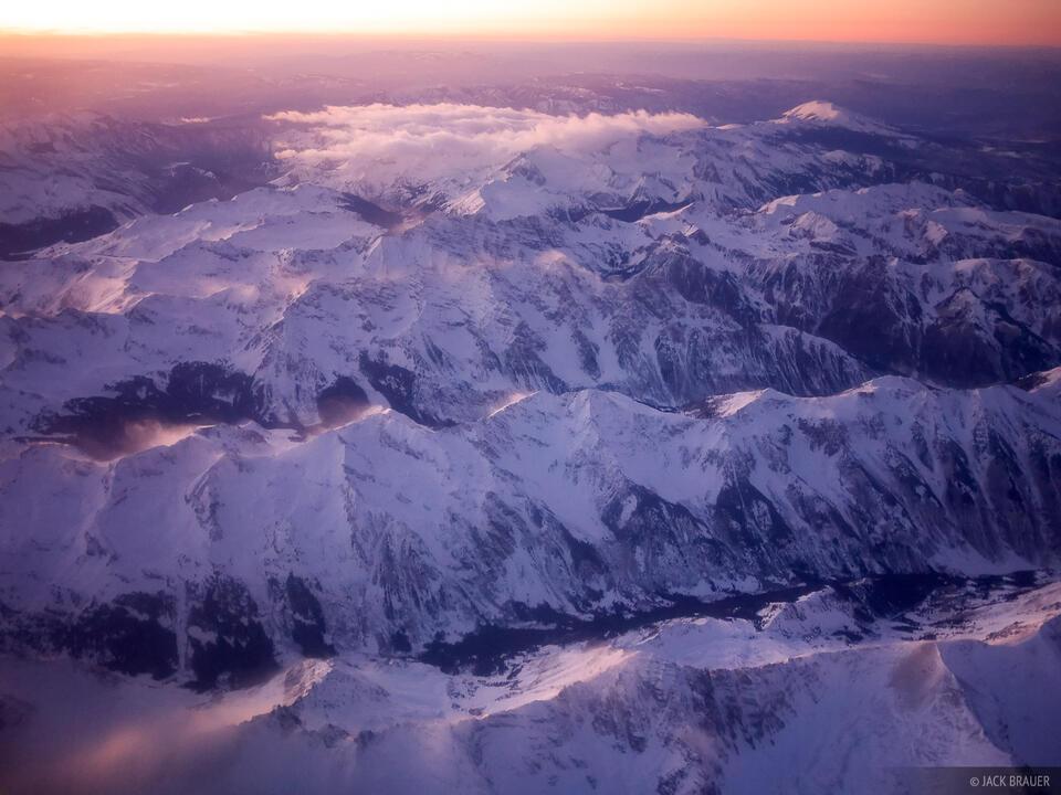 Elk Mountains, Aerial, sunset, Colorado, January, winter, Maroon Bells-Snowmass Wilderness