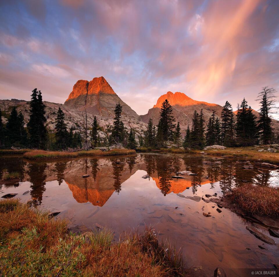 Vestal Peak, Arrow Peak, Grenadier Range, San Juan Mountains, Colorado, sunrise, reflection