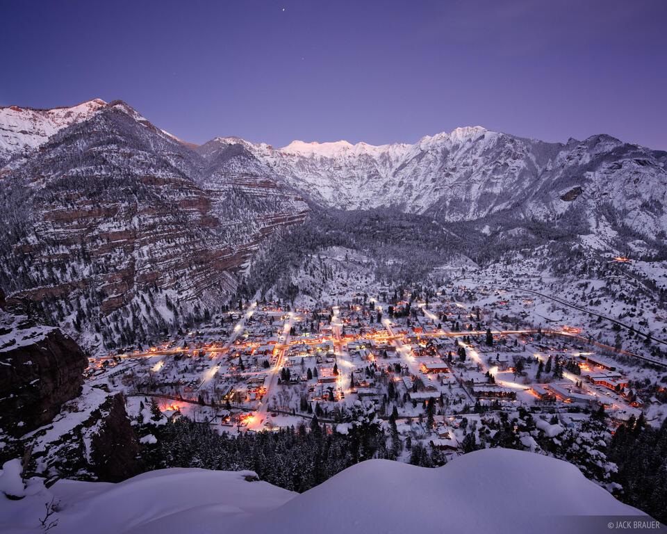 Ouray, Colorado, winter, twilight, snow, December, San Juan Mountains