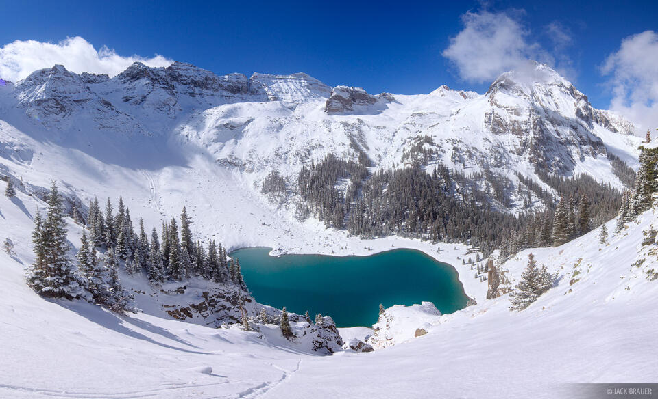 Blue Lakes, Sneffels, San Juan Mountains, Colorado, winter, panorama, snowy