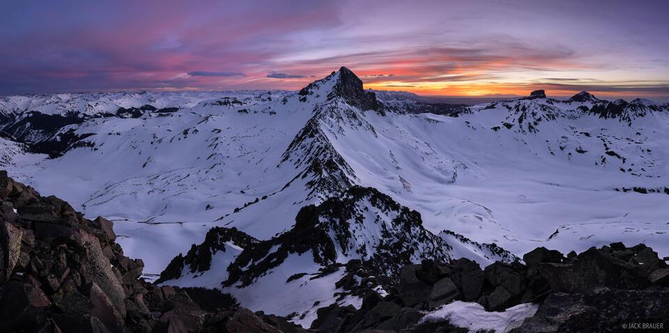 Colorado,San Juan Mountains,Uncompahgre Wilderness,Wetterhorn Peak, sunset, panorama