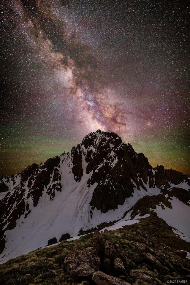 Colorado,Mt. Sneffels,San Juan Mountains,Sneffels Range,stars, Milky Way, galaxy, airglow