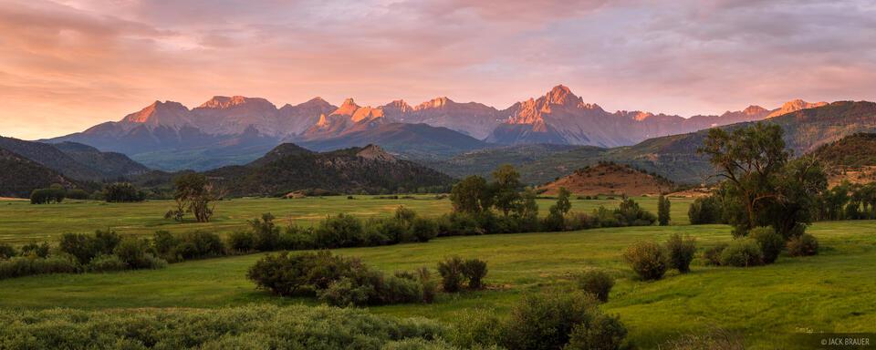 Colorado, Ridgway, San Juan Mountains, Sneffels Range, sunrise, panorama