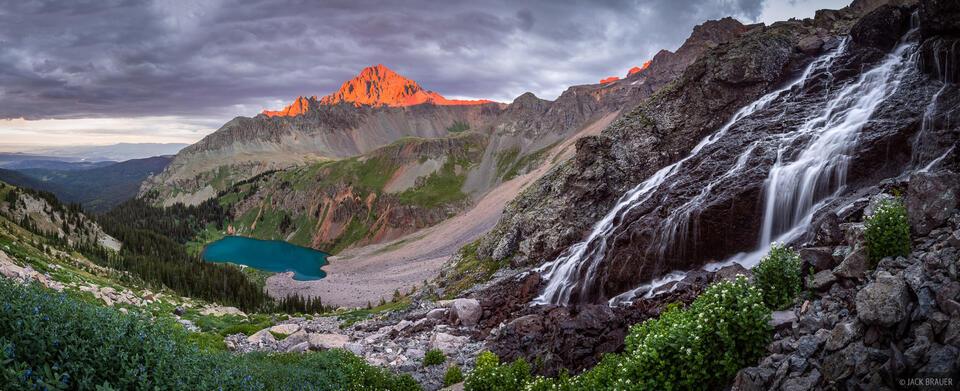 Blue Lakes, Colorado, San Juan Mountains, Sneffels Range, panorama, Mt. Sneffels, waterfall