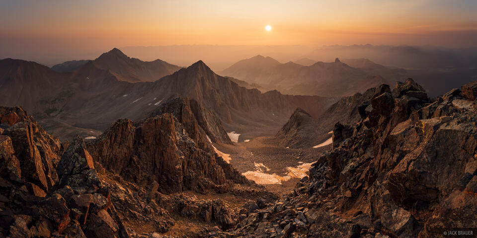 Colorado, Gladstone Peak, Lizard Head Wilderness, Mount Wilson, San Juan Mountains, Wilson Peak, wildfire, smoke, smoky, sunrise